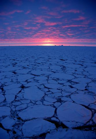 Antarctica at sunset